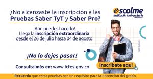 ¡Aún estás a tiempo de inscribirse en las Pruebas Saber TyT y PRO 2021 – 2 en su proceso extraordinario!