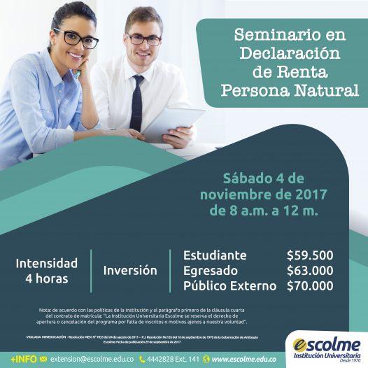 Seminario en Declaración de Renta Persona Natural