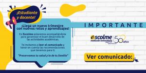 COMUNICADO A LA COMUNIDAD ACADÉMICA DE ESCOLME